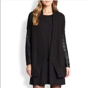 NEW Eileen Fisher Genuine Leather Wool Cardigan